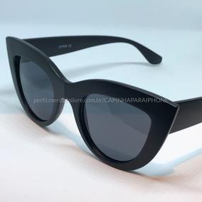 cd12bc65b7fb3 Óculos De Sol Cat Eye Feminino Preto Fosco - Proteção Uv 400