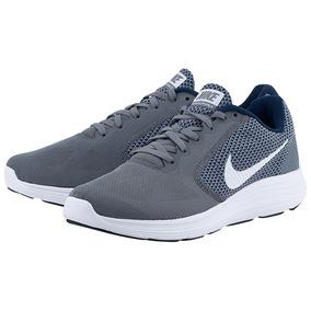 19eda79c5be Tenis Nike Revolution 3 Correr Running Gris Caballero