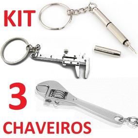 Kit 3 Chaveiros Ferramentas Paquímetro Inglesa Fenda/philips