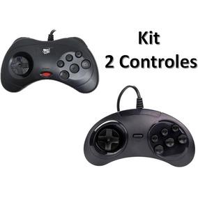 Kit Controle Sega 1 Saturn + 1 Mega Usb Pc Raspberry Retro