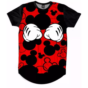 Camisa Camiseta Longline Full 3d Swag Mickey Hands Vermelho 593f21bfe86b1