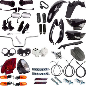 Kit Carenagem + Kit Farol Pisca Cg 125 Fan 2004 Ate 08 Preto