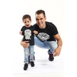 Kit Camisetas Pretas Tal Pai Tal Filho Caveira