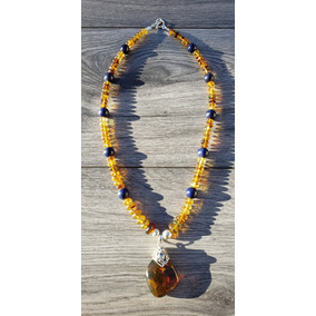 Collar De Piedra Natural De Chiapas Y Lapis Lazuli Natural