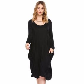 Vestido Negro Casual Suelto Con Bolsas Midi Manga Larga Moda