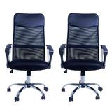 Kit 2 Cadeira Escritório Excellence Giratória Preto- Facthus