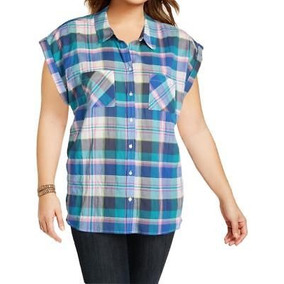 Cuadros Hilfiger Para Top Casual Mujer Tommy Botón Blusa HxBUx