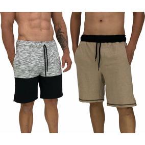 2 Bermuda Moletom Calção Shorts Original Moletinho Slim Fit