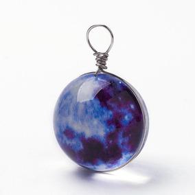 Collar De Luna Esférica Brilla En La Oscuridad Vidrio Murano