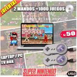 2x50 Mando Control Usb Nuevo Súper Nintendo Snes +1000juegos