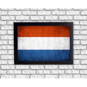 86ab059f4b26a Quadro Decorativo Bandeira Holanda Retrô Vintage Com Moldura