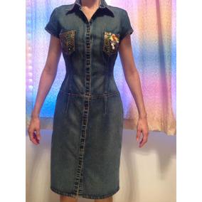 Vestido Jeans Azul Escuro Midi Moda Evangélica Vintage P