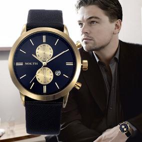 Relógio Masculino Luxo Pulseira De Couro Prova D`água 3atm