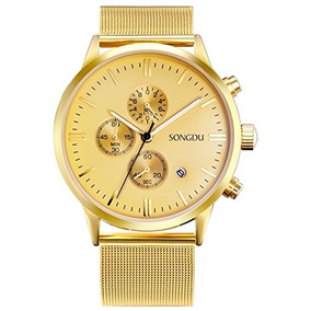 Songdu Unisex Classic Chronograph Watch Gold Tone Big Face W