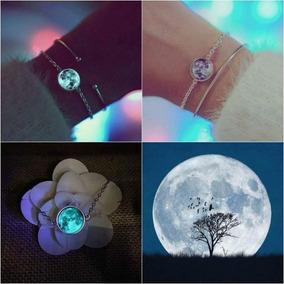Pulsera Luna Llena Brilla Oscuridad Moda Brillante Pulseras