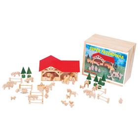 Brinquedos Educativos - Super Fazendinha 45 Peças Em Madeira