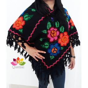 Mañanitas Bordada Punto De Cruz Poncho Abrigo Mexicano