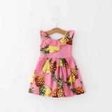 Vestido Fresco Niña Bebe Vintage Moda Piña Tropical Piñas