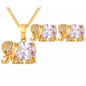 Collar Y Aretes De Elefante Con Aaa Zirconias Hermoso¡¡¡