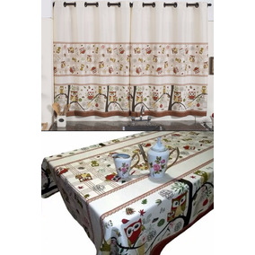 Cortina Cozinha 2.m X 1,45m + Toalha Mesa 6 Cadeiras