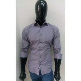 Camisa Para Caballero De Cuadros Color Gris