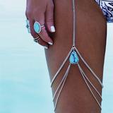 Leg Chain Body Chain Corrente De Perna Coxa Turquesa