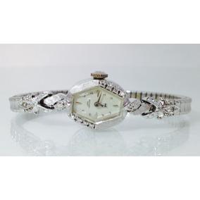 Reloj Hamilton P/dama De Oro Blanco Sólido De 14k (inv 622)