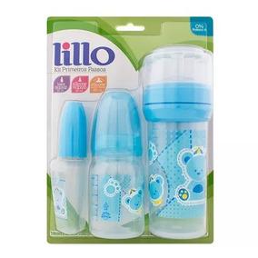 Mamadeira Lillo Kit Primeiros Passos Azul Com 3