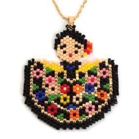 Collar Acero Dorado China Poblana Traje Típico Mexicano Arte