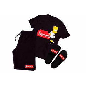 Kit Camisa + Bermuda + Chinelo Slide Supreme Bart Tumblr Top