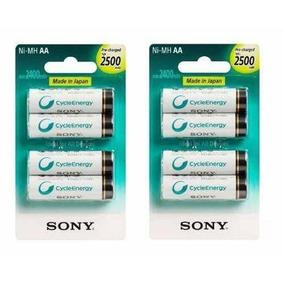 Pilha Recarregável Sony Aa 2500 Mah Com 8 Unid Orig Lacrado