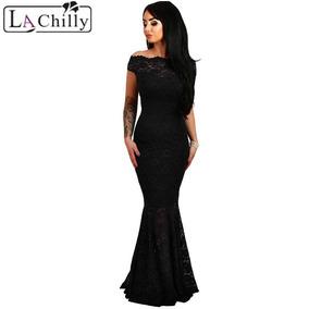Vestido negro largo sirena