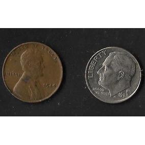 Moedas Antigas Estados Unidos Numismática: 2 De 1 Cent