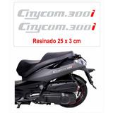 Kit Emblema Adesivo Resinado Cromado Dafra Sym Citycom 300i
