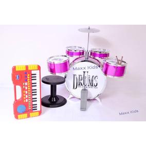 Kit Bateria Infantil 5 Tambores 1 Pratos + Teclado My Music