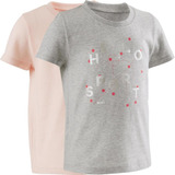 Camiseta Manga Corta Gimnasia Domyos 100 Lote 2 Bebé Gris 46db7f5a7f9