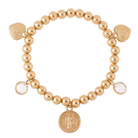 Nice P163 Pulsera Cristales +medalla San Benito Baño Oro 18k