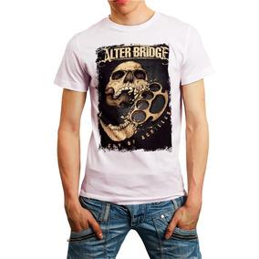 Camiseta Alterbridge Caveira Skull Camisa Branca Barato c0807e431b9