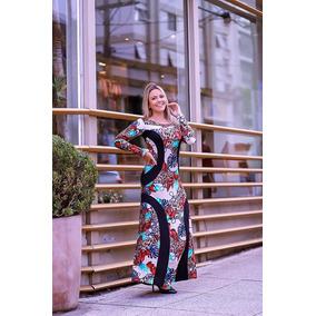 Vestido Longo Estampado Afina Cintura Moda Casual Evangelica