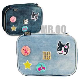 Estojo Escolar Porta Lápis Jeans Azul Rebecca Bonbon Rb9141