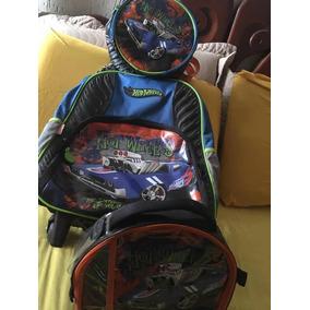 Mochila Gigante + Lancheira + Porta Carros Hot Wheels Usado