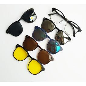 Armação De Óculos + 5 Lentes Clip On De Sol E Noturna 3cf3ae6cd1