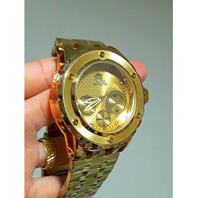 89b767c17c1 Relógio Masculino Dourado Todo Metal Pesado Importado Luxo