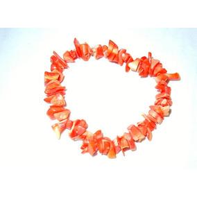 Pulsera Piedra Coral Naranja Pedacería Gigante Chip 18 Cm