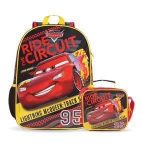 Kit Mochila + Lancheira Soft Carros Mc Queen Original Disney
