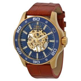 Relógio Invicta Azul Skeletal Dial Brown Men Couro- 17260