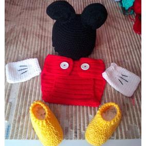 Disfraz Mickey Para Bebé Tejido Botón Para Sesión De Fotos