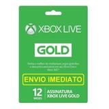 Xbox Live Gold Cartão 12 Meses Código 25 Dígitos