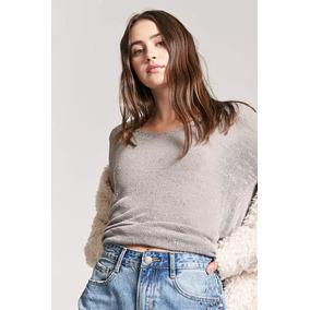 Forever 21 Sweater Cerrado Cardigan Tejido Gris Claro S Ch
