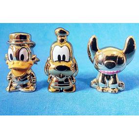 3 Gogos Disney Dourados Pateta Patinhas Stitch